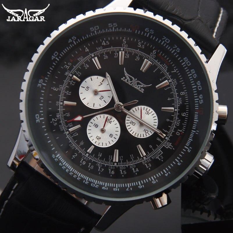 JARAGAR Brand Luxury Men Mechanical Watches Men's Automatic 6 Hands Genuine Leather Strap Watches Black Auto Date Wristwatches