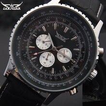 Часы наручные JARAGAR Мужские механические, брендовые Роскошные автоматические с ремешком из натуральной кожи, с 6 стрелками, с автоматической датой, черные