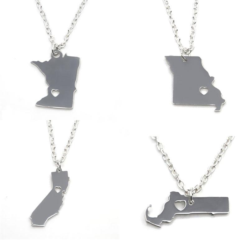 US State map necklace silver tone California Mhigan Maryland Montana Vermont Oregon Ohio Massachusetts Kansas Colorado necklace
