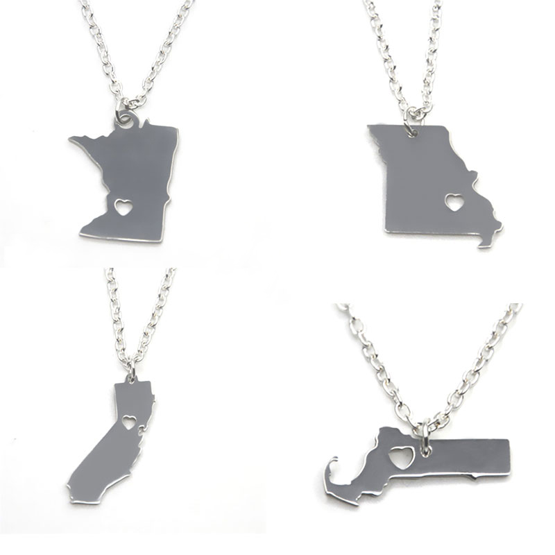 US State Map Necklace Silver Tone California Mhigan Maryland - State map of us ohio to colorado