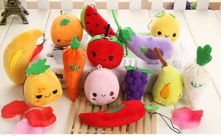 Cute Fruits Plush Pendant Keychain Simulation Fruit and Vegetable Pendant Creative Gifts Small Toys Accessories