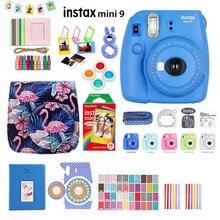 Fujifilm Instax Mini 9 cámara de fotos instantáneas, 5 colores, película arcoíris, Kit de accesorios, funda de PU, álbum, filtro de lente, pegatinas, Marco