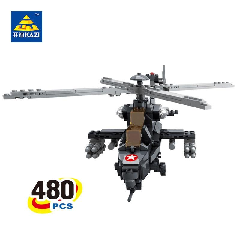 KAZI 98405 480 Pcs  WZ-10 Military Helicopter Blocks Building Blocks Sets Playmobil 3D Education Bricks Toys For Children playmobil® playmobil 5289 секретный агент мега робот с бластером