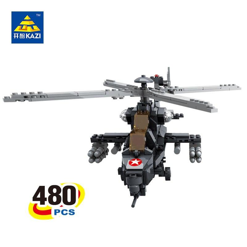 KAZI 98405 480 Pcs WZ-10 Military Helicopter Blocks Building Blocks Sets Playmobil 3D Education Bricks Toys For Children