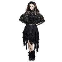 New Women Lolita Double Layer Lace Cloak Gothic Lace Flower Mesh Fabric Accessories Female Halloween Christmas High Collar Wraps