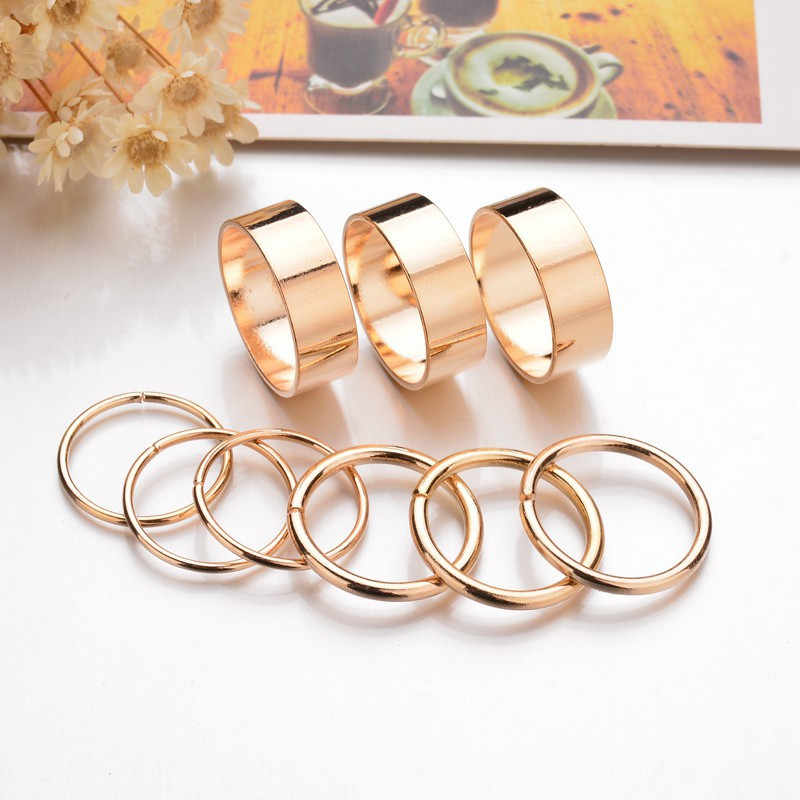 ZN 9Pcs/Set Fashion Gold Silver Color Knuckle Rings Set For Women Vintage Midi Finger Ring Sets Round Female Party Jewelry Gifts