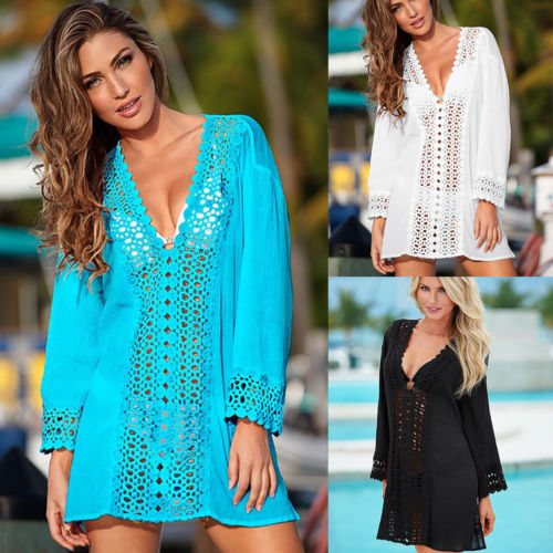 Women Summer V-neck Lace Crochet Bikini Cover Up Swimwear Bathing Suit Beach Dress Tops