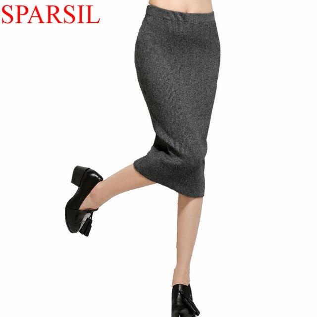 Sparsil женская весна осень сплошной цвет сексуальные смесь кашемира юбка карандаш элегантная дама эластичный пояс юбки до колен A74
