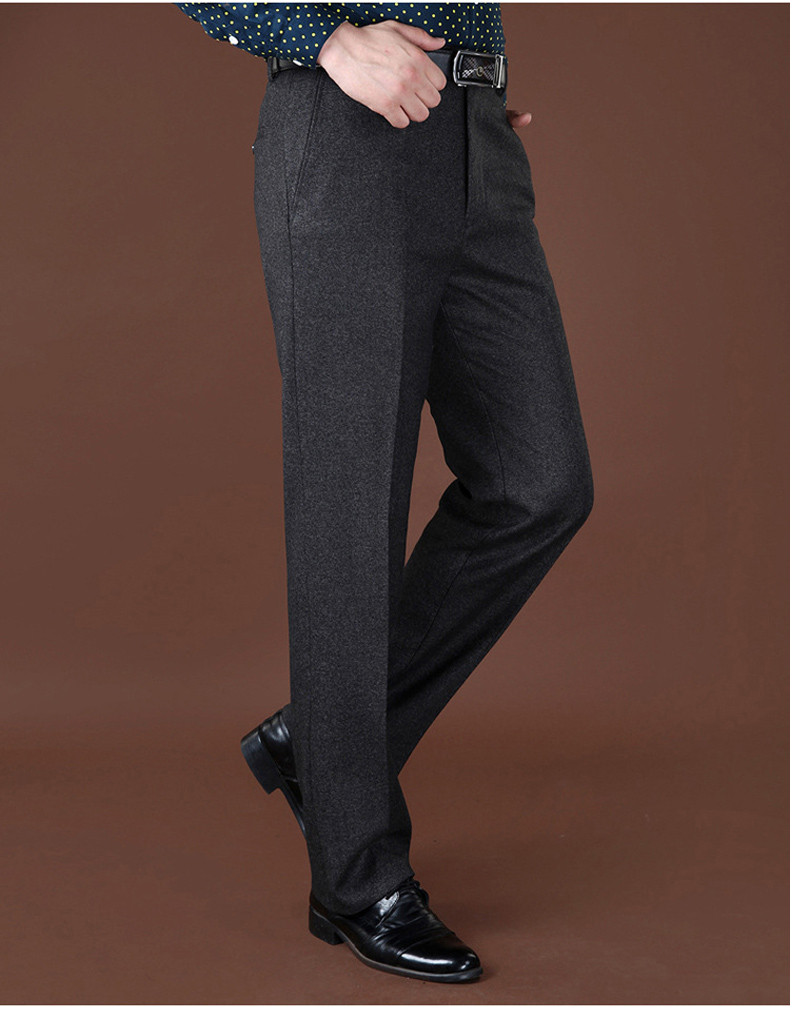 Plus Sizes 40 42 44 Business Casual Fleece Warm Suit Pants New Straight Formal Male Winter Trousers Plus Thicken Velvet Trousers