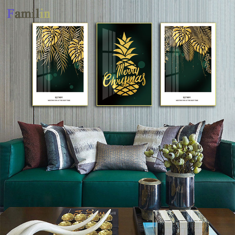 HTB1O.NwRFzqK1RjSZFoq6zfcXXat Green And Gold Pineapple Monstera Plant Painting Large Leaf Poster Print Wall Art For Living Room Aisle Unique Modern Decoration
