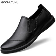 2019 new fashion men's shoes casual slip-on loafers male genuine leather shoe man light driving classic black work shoes for men все цены