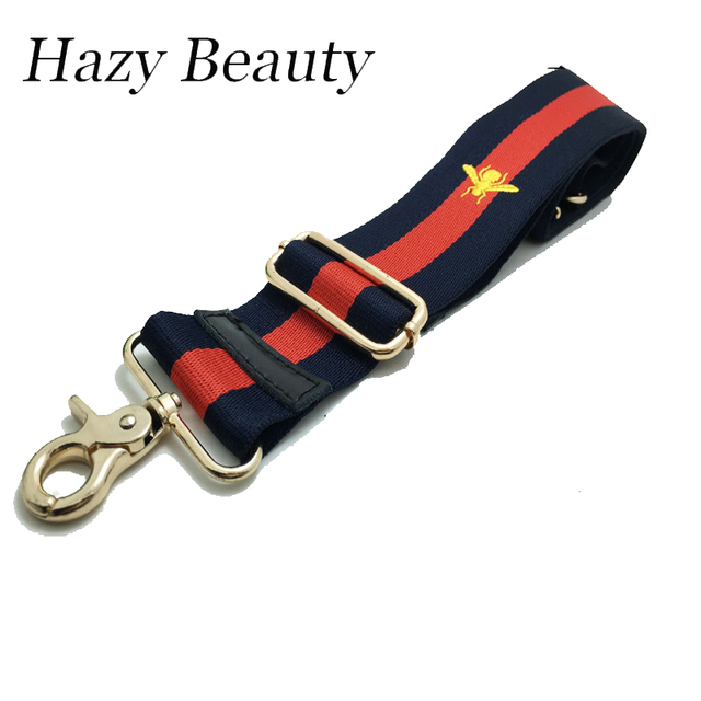 Hazy beauty Fabricag strap chic women handbag stripe lady shoulder bags belts bee and star design bag parts hot sell SS129