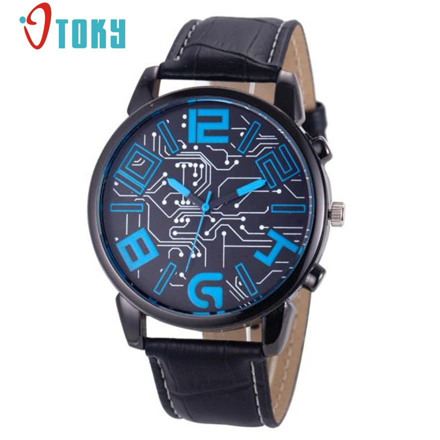 Otoky wrist watch men luxury men 39 s faux leather watches for male clock quartz mens sports for Leather watch for men