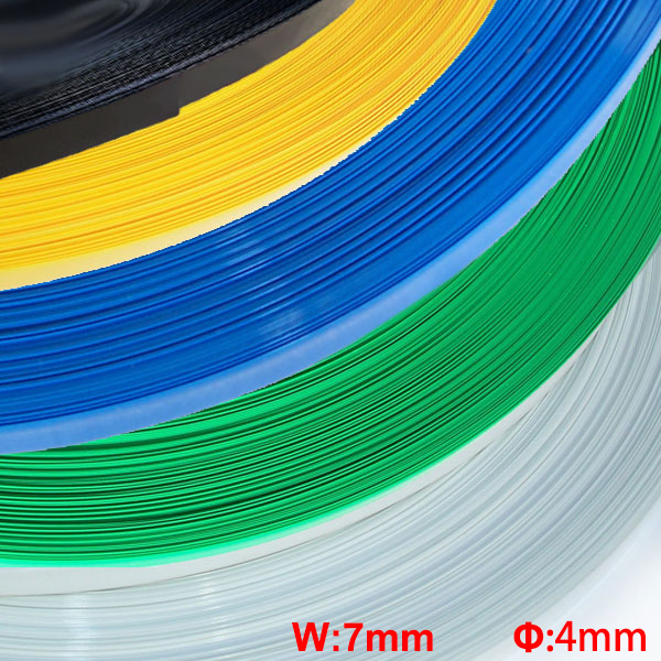 20M Blue Clear Black 7mm Width 4mm Diameter Insulation Capacitor Battery Pack Protective Casing PVC Heat Shrink Shrinkable Tube