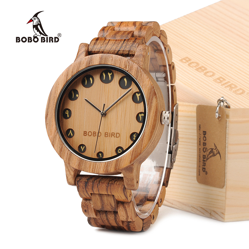 BOBO BIRD EN24 Decent All Wood Men Watches Arabic Numerals Display Bamboo Watch as Gift bobo bird l b08 bamboo wooden watches for men women casual wood dial face 2035 quartz watch silicone strap extra band as gift