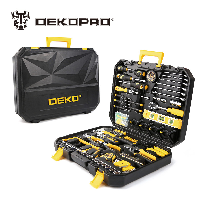 DEKOPRO 168 Pcs Hand Tool Set General Household Hand Tool Kit with Plastic Toolbox Storage Case Socket Wrench Screwdriver Knife 55pcs hand tool set kit household tool kit saw screwdriver hammer tape measure wrench plier