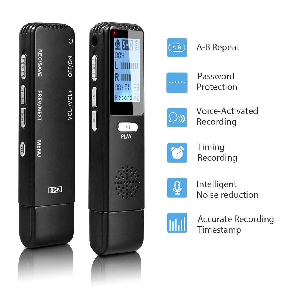 Digital Voice Recorder MüHsam Digital Voice Aktiviert Recorder Sound Audio Aufnahme Diktiergerät Für Vorträge Tagungen Mp3 Player Mini Recorder V25 BüGeln Nicht