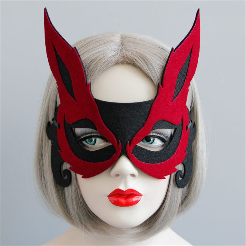 1pc Red Sexy Fox Half Face Mask Universal Face Decoration Costume Cosplay Carnival Masquerade Mask Halloween Party Mask