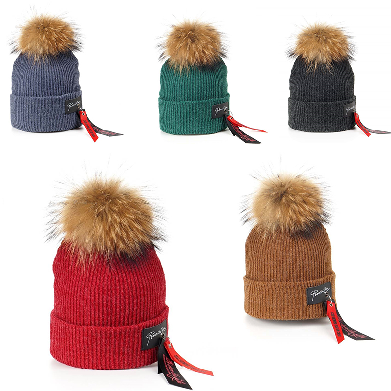 New Fashion Kids Boys Girls Casual Hip Hop Cap Big Raccoon Fur Ball Pom Pom Knitted Wool Skullies Beanie Hat Warm Winter Cap new star spring cotton baby hat for 6 months 2 years with fluffy raccoon fox fur pom poms touca kids caps for boys and girls