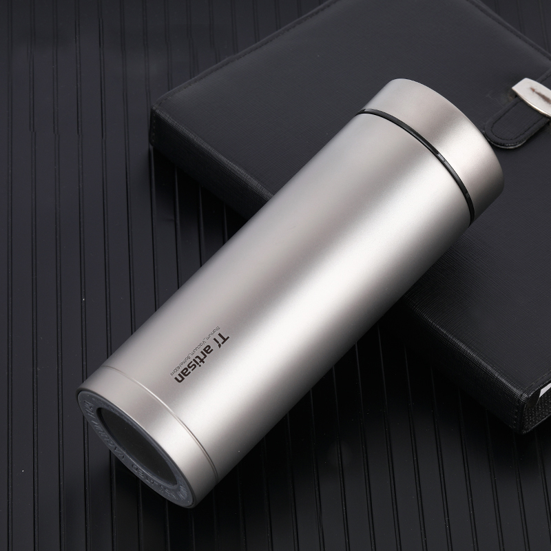 Tiartisan Titanium Bottle 400ml Double Wall Vacuum Thermos Cup with Filter for Tea Coffee Outdoor Drinking