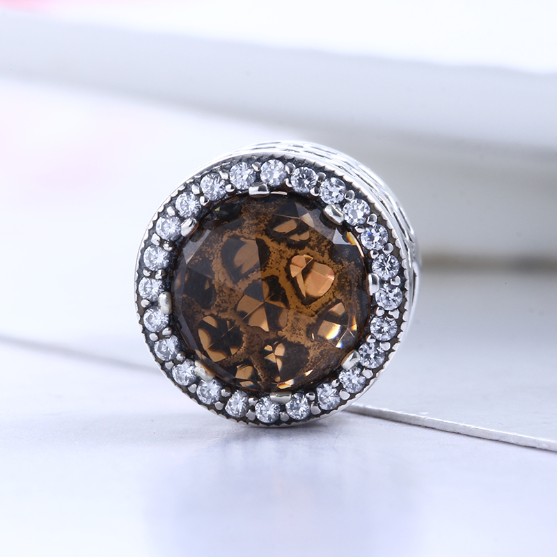 100% 925 Sterling Silver Fit Original Pandora Bracelet Brown Radiant Crystal Clear CZ Round Ball Charm Beads for Jewelry Making
