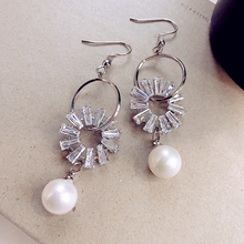 Fashion Flower Design Zircon Circle Drop Earrings With White Cubic Zircon Women Bride Wedding Jewelry