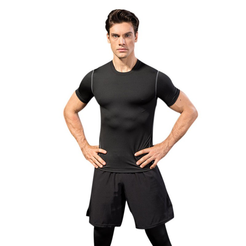 2019 Men 39 s tight fitting Fitness Clothing Running short sleeved Sportswear stretch dry Clothes T shirt in Running T Shirts from Sports amp Entertainment