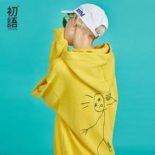Toyouth Mới Thu Lười Hoạt Hình In Nữ Áo Nỉ Hoodie Dài Tay Áo Thun Hàn Quốc Nữ Phong Cách Áo Khoác Hoodie