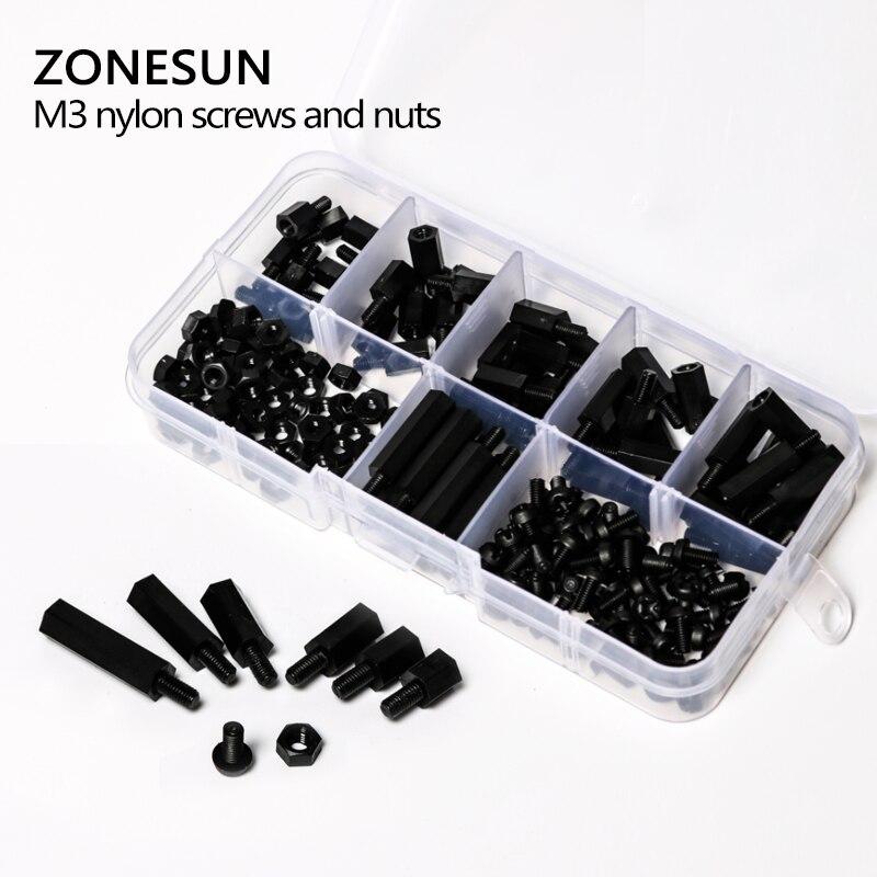 ZONESUN A96 180 Pcs M3 Nylon Noir MF Hex Entretoises Vis Écrou Assortiment Kit Stand off Ensemble Boîte