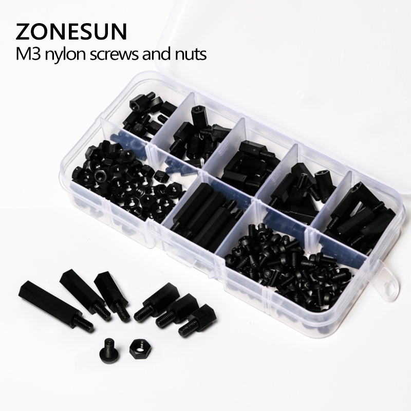 ZONESUN A96 180 pcs M3 Nylon Noir M-F Hex Entretoises Vis Écrou Assortiment Kit Stand off Ensemble Boîte