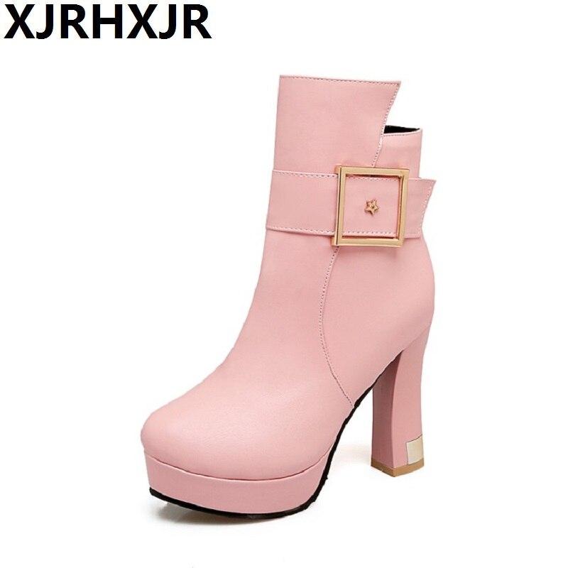 Zip Moda Pu Zapatos Redonda pink Invierno Black Xjrhxjr Martin Mujer white  Tacones Señoras Altos Cuero Plataforma Bomba Botas Otoño Sexy Botines ... 325b08a437a0
