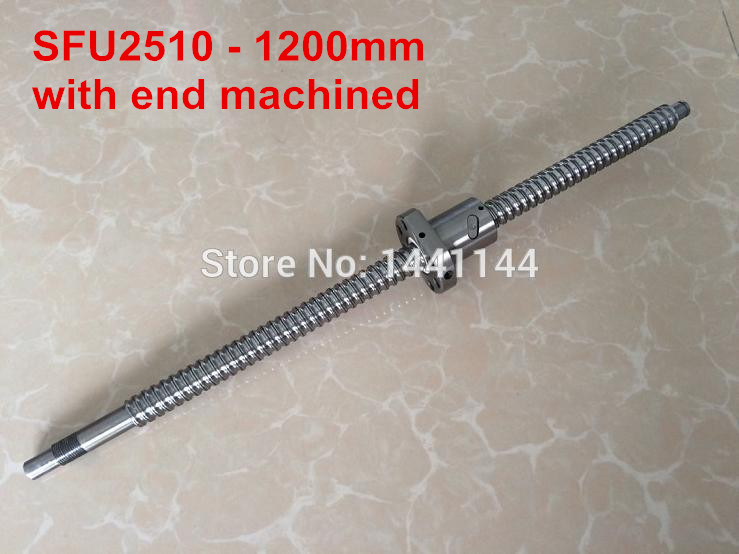 SFU2510- 1200mm ballscrew with ball nut with BK20/BF20 end machined sfu2510 1200mm ballscrew ball nut with end machined bk20 bf20 support