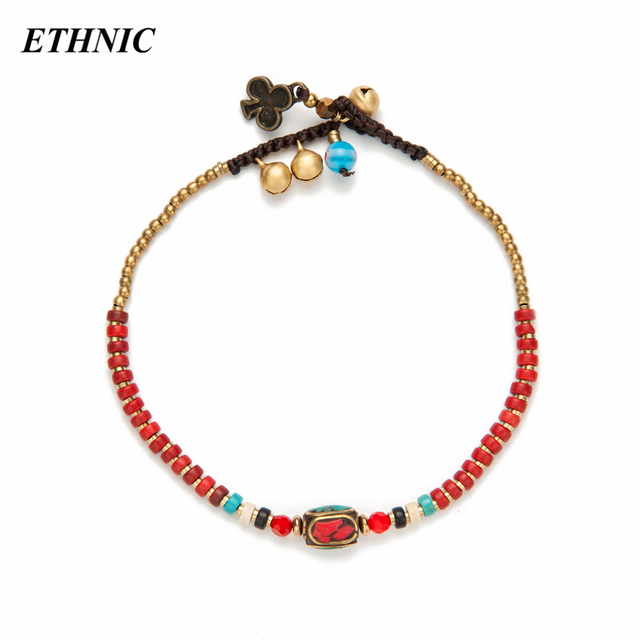 Summer Style Red Bohemian Beads Chain Anklets for Women Beach Fashion Ankle Bracelet Chain On Foot Jewelry