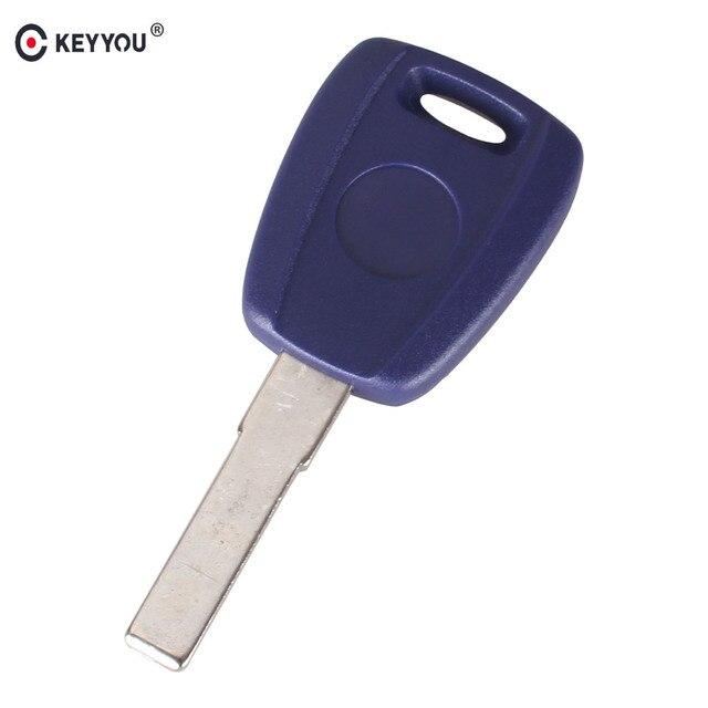 KEYYOU 10X สำหรับ Fiat Key Shell SIP22 สีฟ้าว่างเปล่าสำหรับ Fiat 500 Ducato Transponder Key Uncut Blade