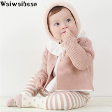 Waiwaibear Baby Girls Cardigan Coats Spring Autumn Solid Sweaters Coat Children Knitted Newborn Clothes