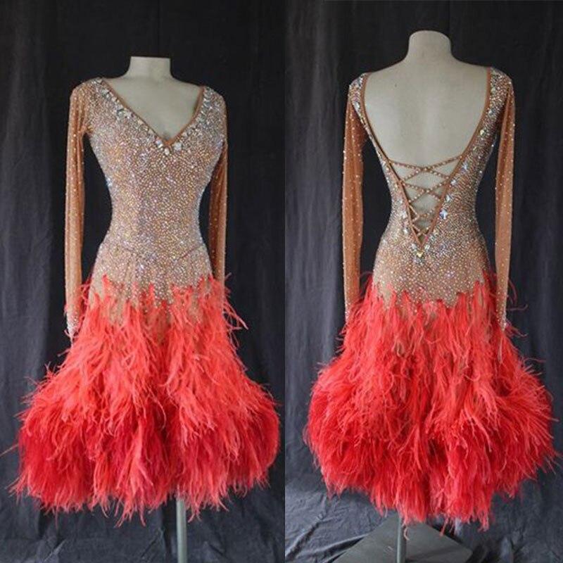 Mulheres vestido de dança latina Com Decote Em V manga comprida Sem Costas vestido para dança latina, salsa latina tango vestido personalizado-feito à mão vestido curto