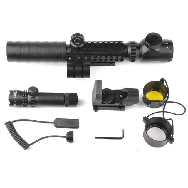 3-9X32EG Riflescope with Long Range Red Dot Laser and Red/Green Dot Holographic Reflex Sight 3 in 1 Combo for Rifle and Airsoft