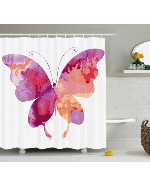 Pink Shower Curtain Butterfly Spiritual Wings Print For Bathroom Waterproof And Mildew Resistant Set Hooks