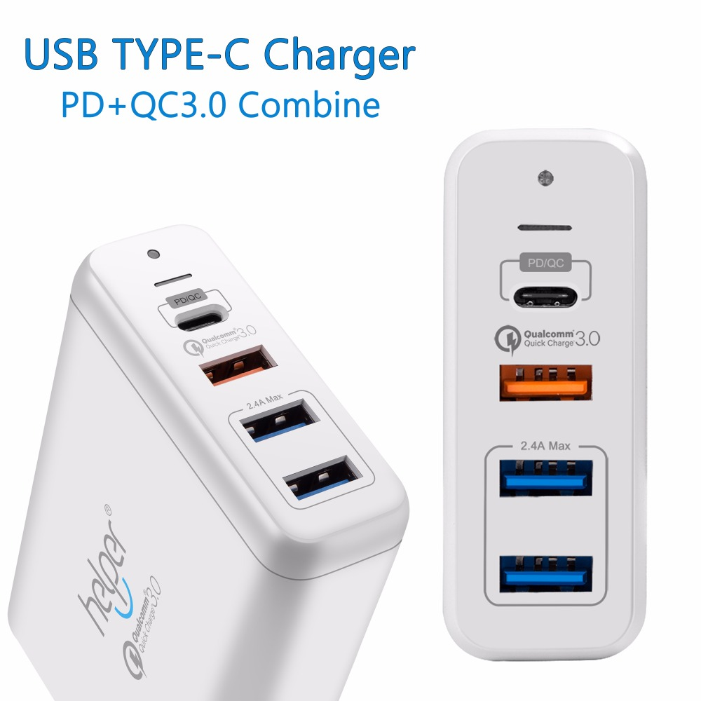 USB Type-C PD Charger, 75W 4-Ports USB-C PD Smart Desktop Charger with Power Delivery for Apple MacBook Pro and usb c charger power delivery qc 3 0 type c pd 3 port fast charger for new macbook samsung hp dell acer asus l