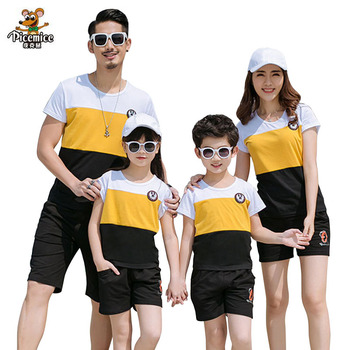 2019 New Summer Family Matching Outfits Father Boy Mother Daughter Cotton Shirts Shorts Pants set Plus Size Family Clothing
