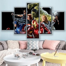 5 Pieces HD Marvel Avengers Posters Wall Print Canvas Paintings Super Hero Art Movie Poster Kids Room Home Decor Framework