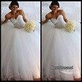 Silueta dramática Francés de encaje balón vestido de vestidos de novia 2015 vestido de noiva vermelho