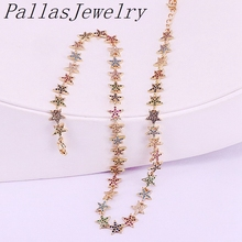 3Pcs 2019 new arrived Bohemia Gold colorful cz paved star design fashion necklace