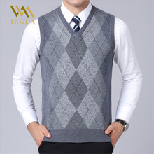 Mens Sweater Vest Casual Plaid Sleeveless Male Sweaters V Neck Knitted Cashmere Pullover for Winter Sueter Hombre Coats