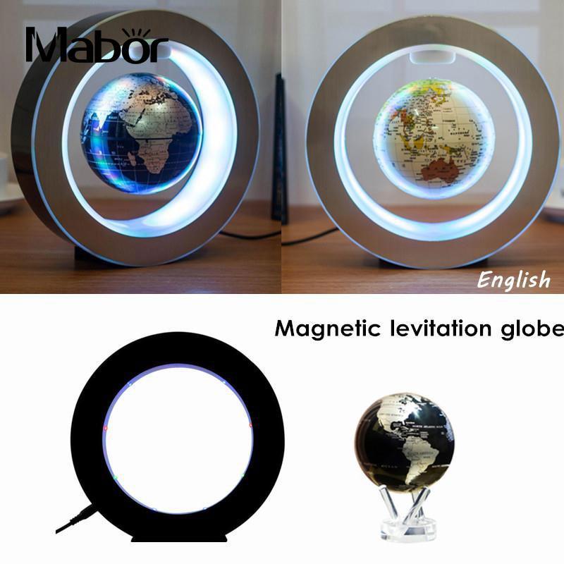 2W DC12V Magnetic Levitation Floating Globe Map w/LED Light Home Decor EU Plug