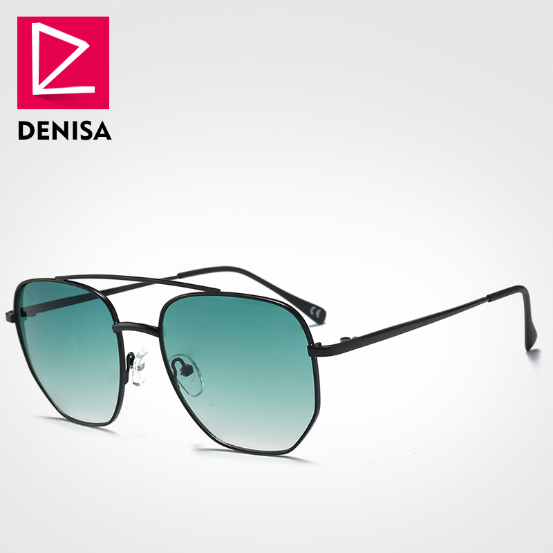 DENISA Brand Fashion Polygon Sungalsses Men Women Square Retro Sun Glasses UV400 High Quality Metal Frame Eyewear G18033 ...