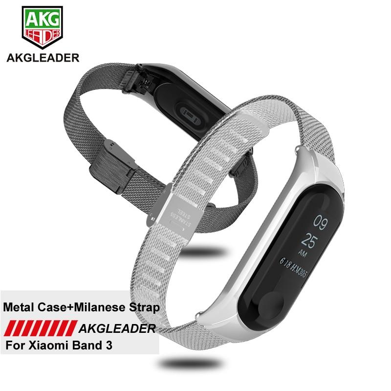 AKGLEADER Mi Band 3 4 Wrist Strap Metal Screwless Stainless Steel For Xiaomi Mi Band 2 3 Bracelet Wristbands Pulseira Miband 3 4