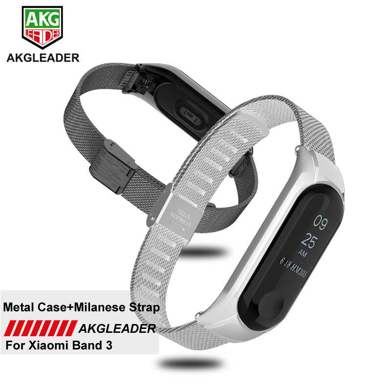 AKGLEADER mi Band 3 4 Bracelet en métal sans vis en acier inoxydable pour Xiao mi Band 2 3 bracelets Pulseira mi band 3 4