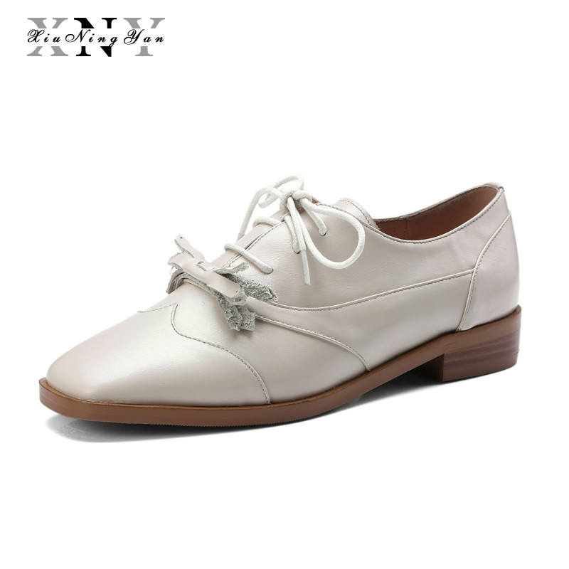 XiuNingYan Women Flat Shoes Soft Genuine Leather Lace-up Casual Shoes Tenis Feminino Handmade Oxfords Shoes Woman Basic Flats foreada genuine leather shoes women flats round toe lace up oxfords shoes real leather casual boat shoes brown pink size 34 40