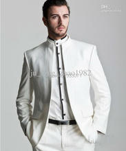 Custom by measure Business Groom Tuxedos 2015 New White Formal Men's Suits Groomsman Bridegroom Wedding Dress (Jacket+Pants)